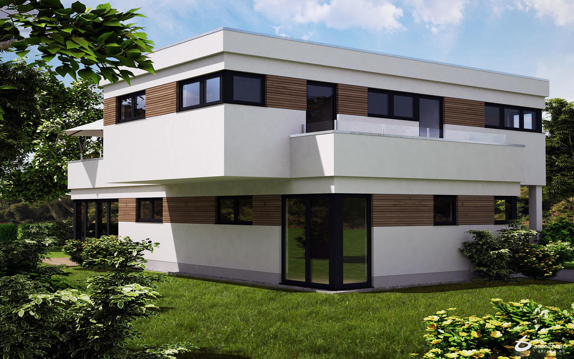 visualisierung eines modernen hauses in m nchen poing. Black Bedroom Furniture Sets. Home Design Ideas