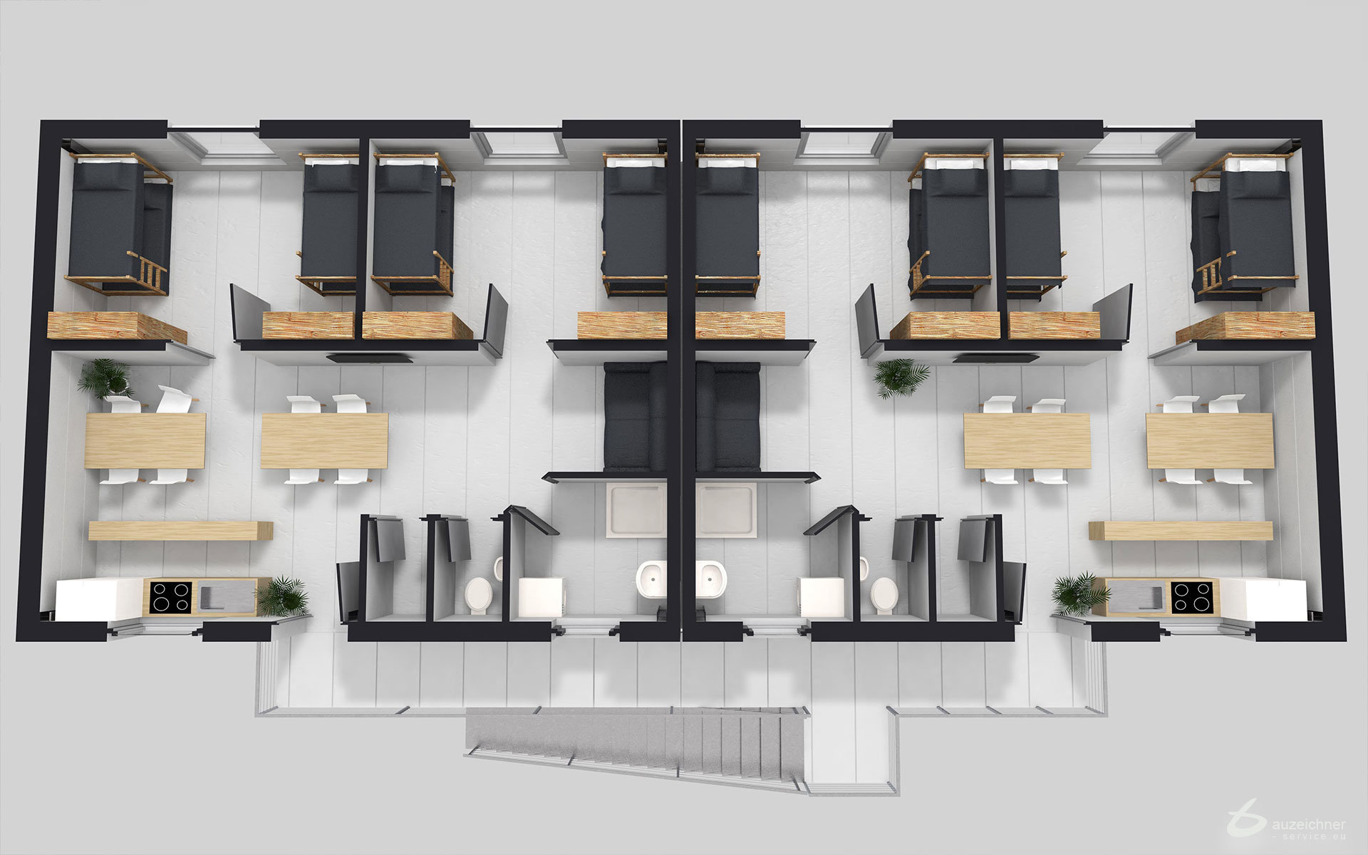 Grundriss in 3D, Flüchtlingsheim