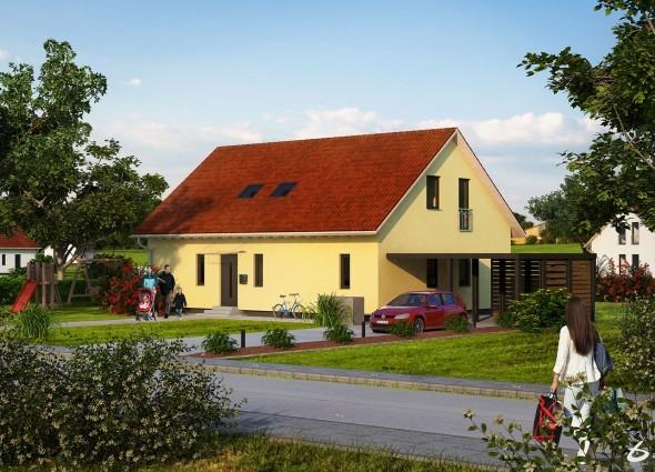 Architektur Visualisierung eines Einfamilienhauses