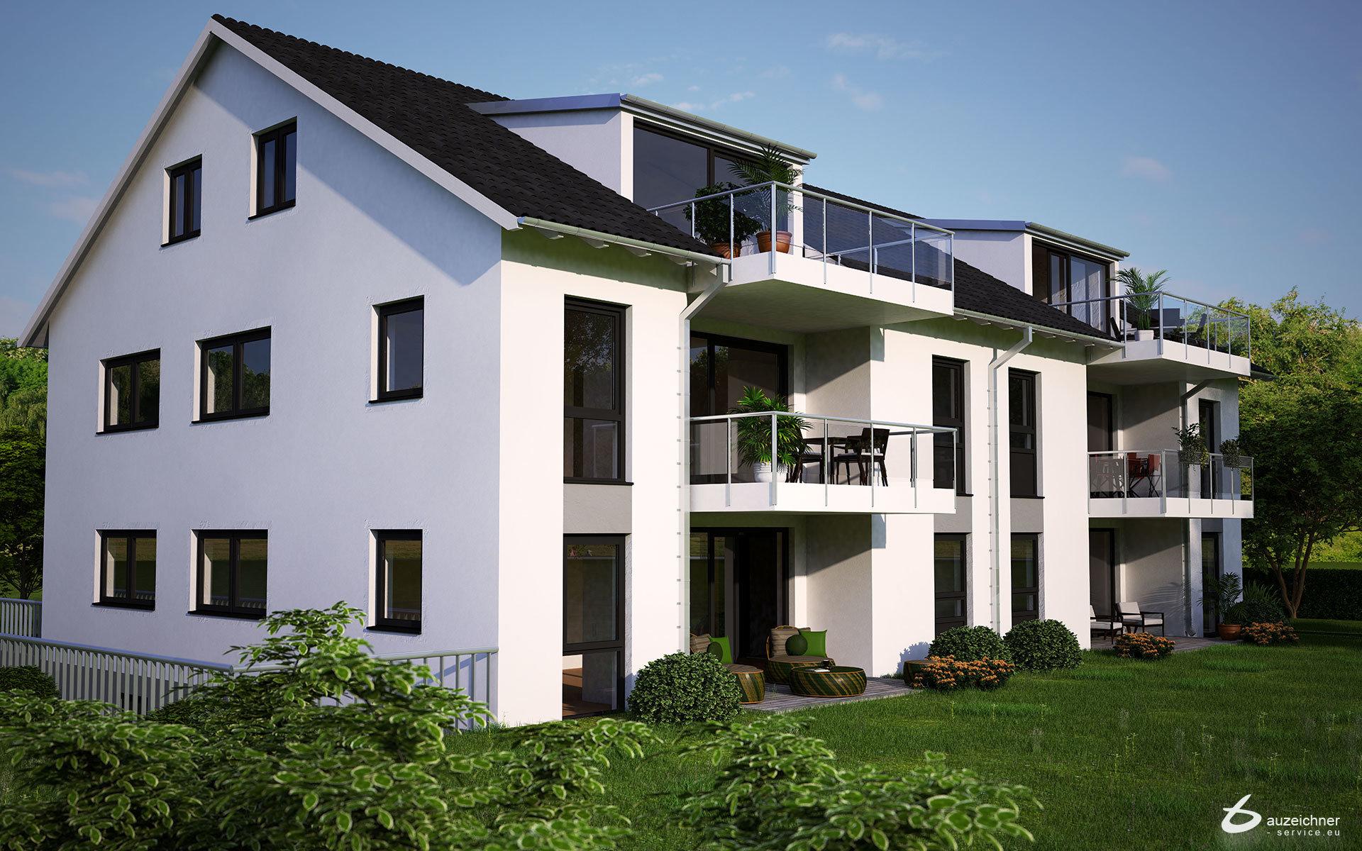 Architekturvisualisierung eines Mehrfamilienhauses in Löchgau