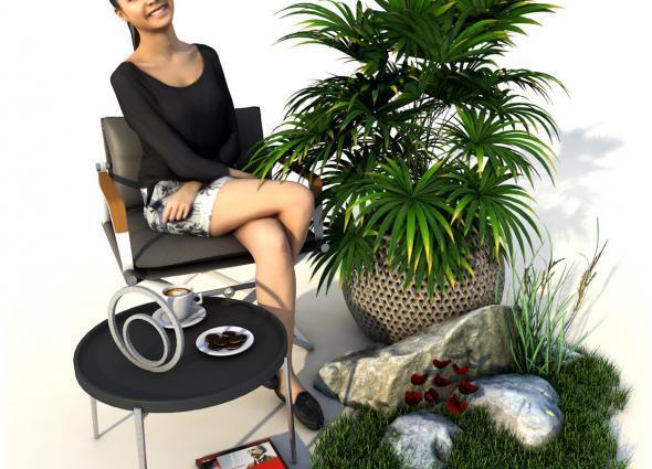 Staffage elemente wie Möbel, Menschen, Pflanzen, Gras und Dekoration für die Darstellung in Fotorealitsichen 3D Illustrationen