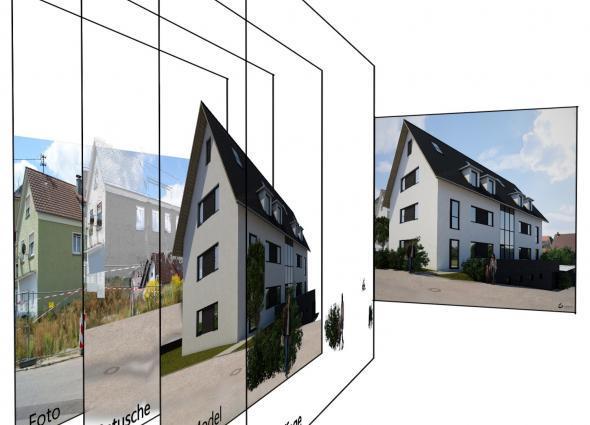 Aufbau einer Fotomontage mit einem neuen Visualierten Mehrfamilienhaus